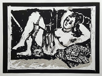 Reclining Figure with Cat (from the opera Lulu) by William Kentridge at Robert Brown Gallery